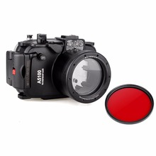 цена на Meikon 40m 130ft Waterproof Underwater Camera Housing Case Bag for Sony A5100 16-50mm Lens Camera With  67mm Red Filter