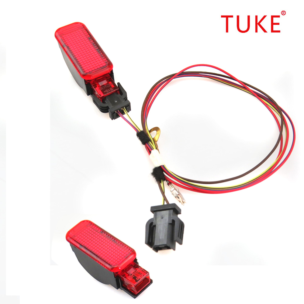 TUKE OEM 2 Red warning lamp door panel + Connection Cable Harness Plug Fit <font><b>A3</b></font> S3 A6 S6 A4 Q3 Q5 8KD947411 8KD 947 411 image