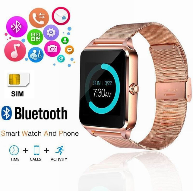 Smart Watch Men Women Bluetooth Fitness Tracker Metal Strap Touch Wrist Smartwatch Support Sim TF Card For Android Sports Watch