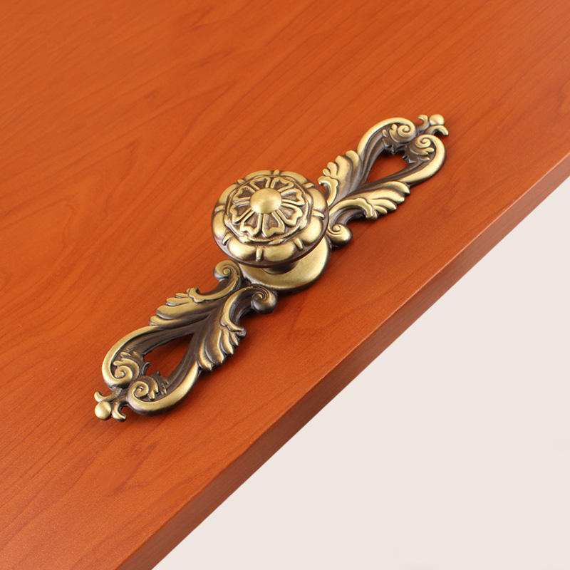 Solid Brass Copper Drawer Design Door Handle Knobs Furniture European Antique Art Cabinet Handle(L:96mm) pure copper handle furniture cabinet wardrobe full copper solid door handle