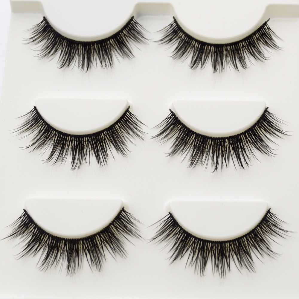 122d2d895f2 ... 3 Pairs False Eyelashes Cilios Thick Natural Faux Mink Lashes Handmade  Makeup Beauty Fake Eye Lashes ...
