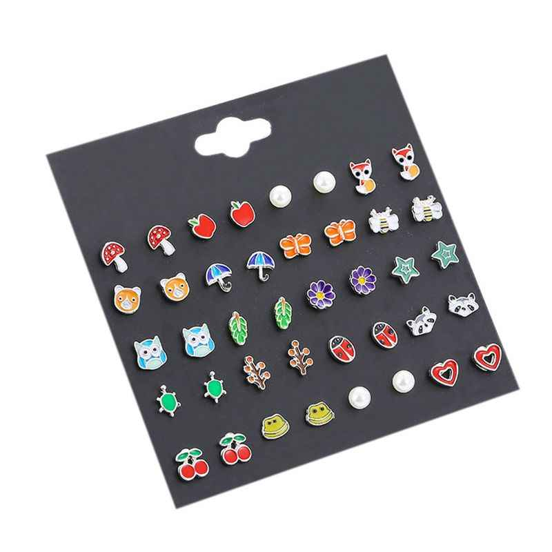 20 Pairs/pack Baby Girl Stud Earrings Set Pretty Animal Fox Bear Ladybug Ear Studs For Kids Children Wholesale Pusheen Jewelry