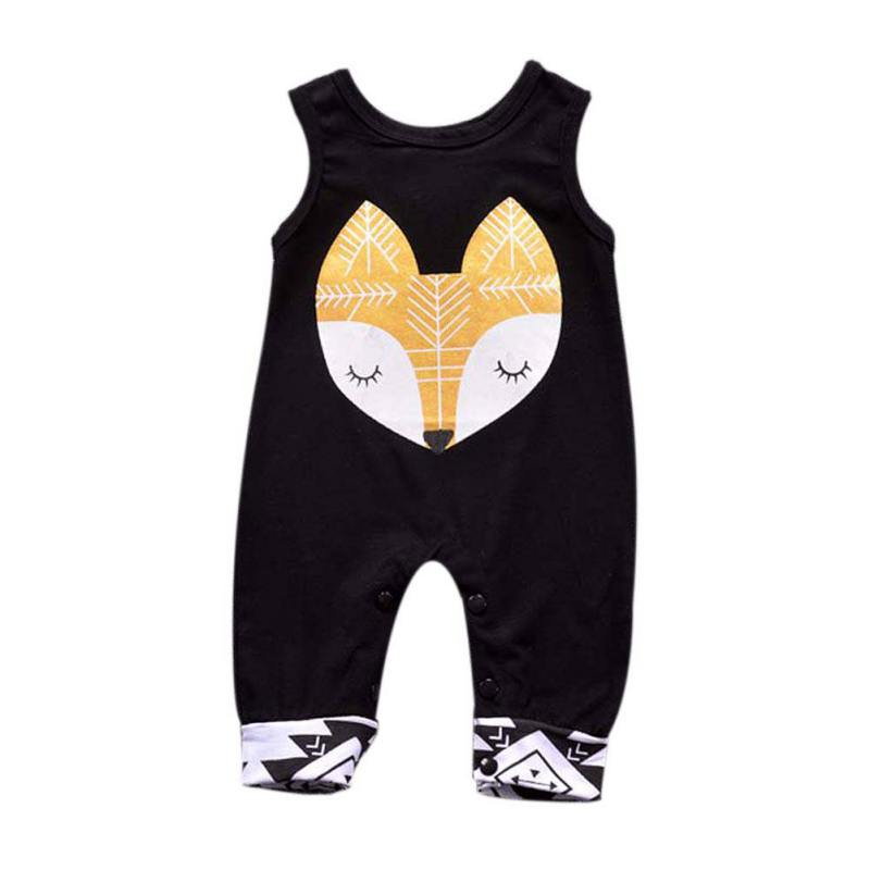 Autumn Fashion Baby Girls Boys Cotton   Romper   Kids Sleeveless Cartoon Pattern Clothes