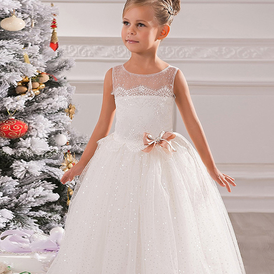 Formal Flower Girl Dress Fluffy Sleeveless Solid Ivory/White ...
