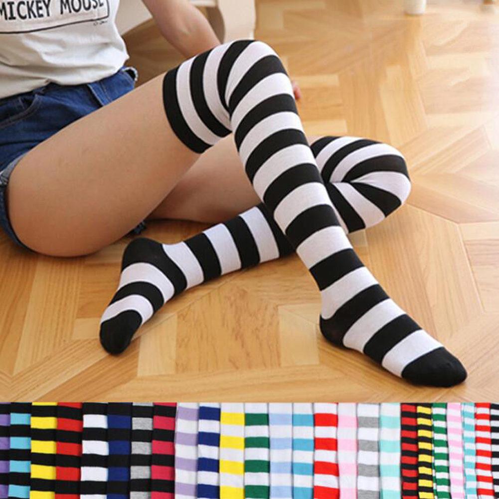 Gran oferta, medias de dibujo de rayas para mujer, moda para chicas, calcetines por encima de la rodilla, dulces calcetines altos hasta el muslo, calcetines de algodón por encima de la rodilla de talla grande