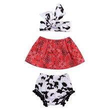 3pcs Newborn Baby Girls Summer Clothes Cute T-shirt Tops+Pants+Headband Outfits Pom-pom Tassel Children Glothes Girl