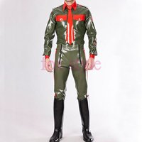 sexy latex uniform style pants RUBBER LATEX trousers costume