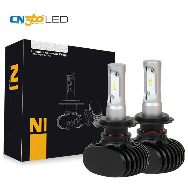 CN360 2 STKS LED H7 50W Auto Huvudlampa Bil Strålkastarsats Glödlampa 8000 Lumen Billampor 12V 24V 6500K Mini-storlek Plug & Play