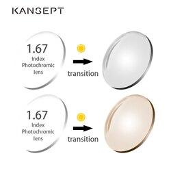 KANSEPT 1,67 Index Photochrome Grau/Braun Asphärische Rezept Marke Harz Linsen Anti UV Öl Wasser Reflektieren Gläser Objektiv