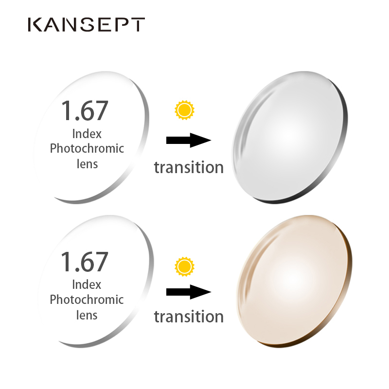 KANSEPT 1.67 Index Photochromic Grey / Brown Aspheric Prescription Brand Resin Lenses Anti UV Oil Water Reflect Glasses Lens