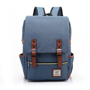 Chuwanglin Retro Men Male canvas College School Student Backpack Casual Rucksacks Travel Bag Laptop bags women bags ZDD7205