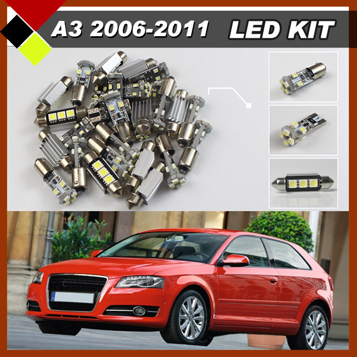 12Pcs Car LED Kit Package Canbus  Interior Dome Map Cargo License Plate Bulbs White For 2006-2011 A3