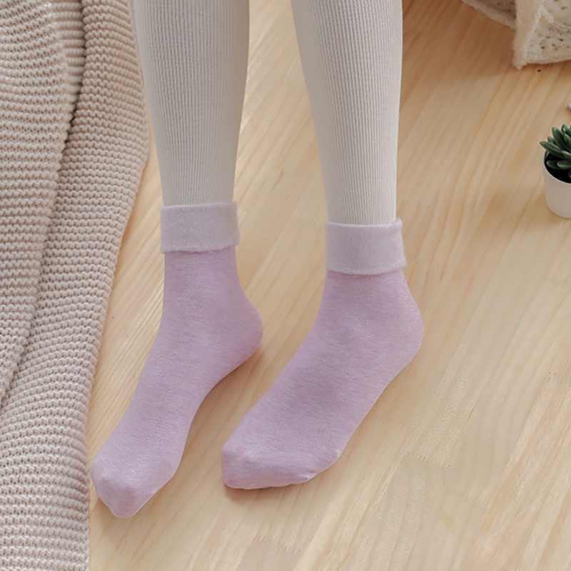 Женские зимние толстые теплые кашемировые однотонные зимние носки бесшовные бархатные сапоги плиссированные носки