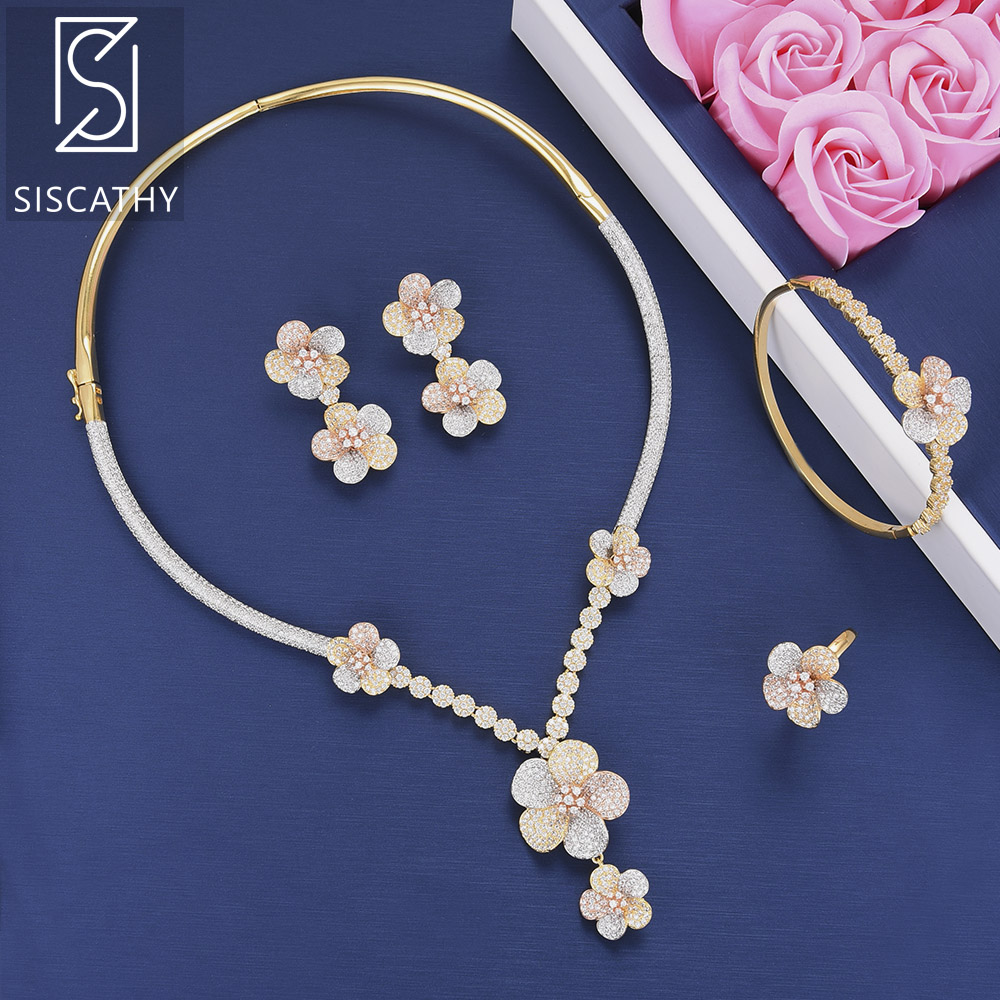 Siscathy Luxury Blossom Flower Cubic Zirconia Bridal Wedding Necklace Dangle Earrings Bracelet Ring 4Pcs Jewelry Set For Women