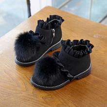 Гофрированный дизайн+ мяч для волос; зимние сапоги для девочек; студенческие ботиночки принцессы; Резиновые Нескользящие Детские ботинки; Детские повседневные спортивные кроссовки