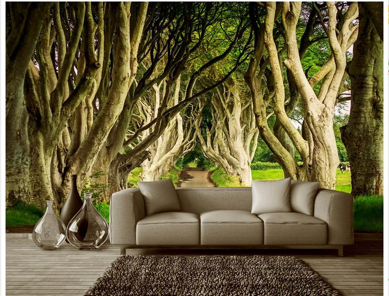 Awesome Customized 3d Photo Wallpaper 3d Wall Murals Wallpaper Great Trees Tree  Lined Trail Landscape Setting Wall Living Room Wallpaper In Wallpapers From  Home ... Part 23