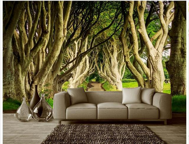 Customized 3d Photo Wallpaper 3d Wall Murals Wallpaper Great Trees Tree Lined Trail Landscape