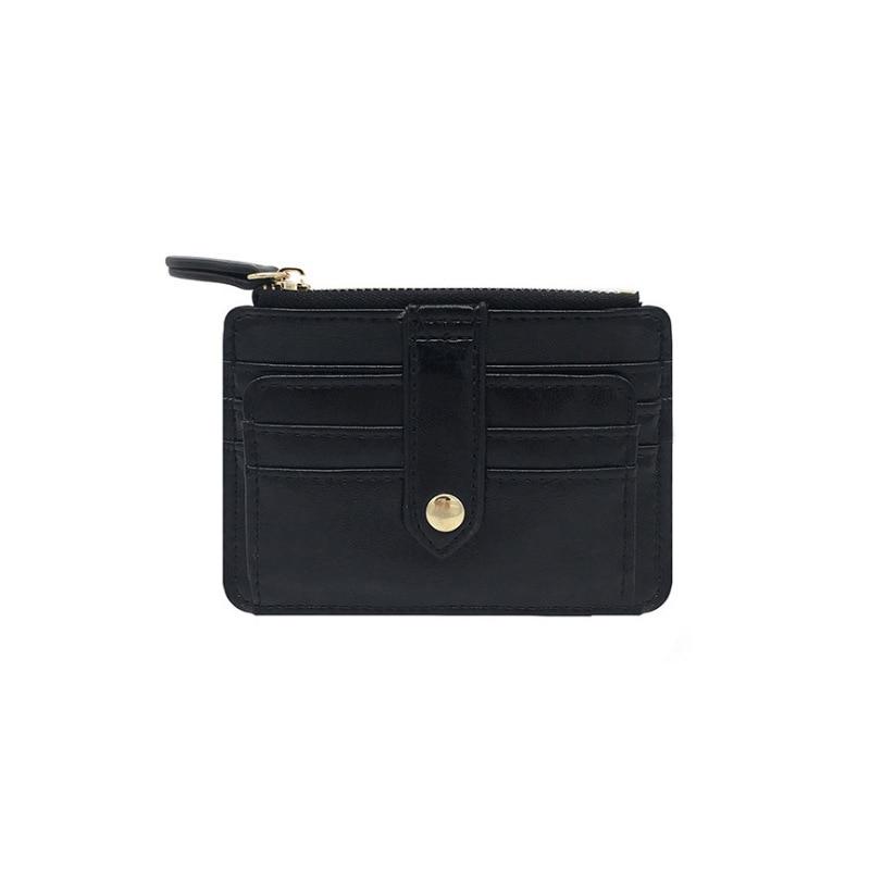 2019 Unisex Wallet Business ID Card Holder Pu Leather Zipper Coin Pocket Bus Card Organizer Purse Bag Men Women Multi-color