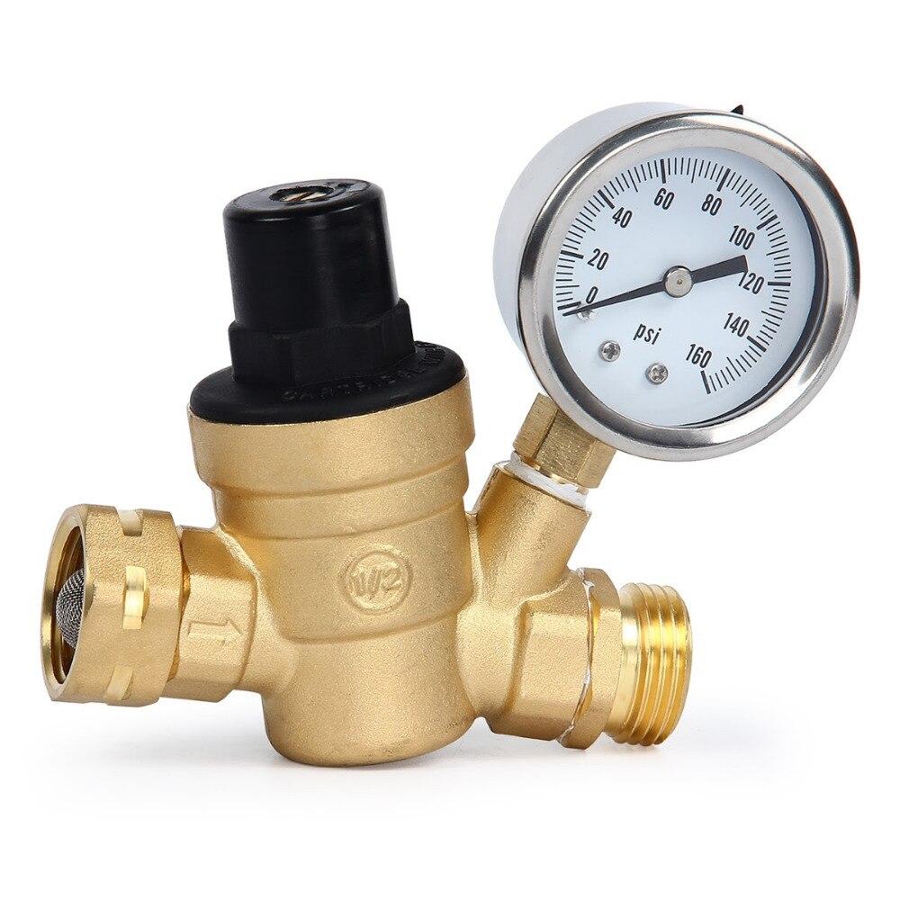 Water Pressure Regulator Brass Lead free Adjustable Manual Operation Pressure Regulating Valve with Gauge Inlet Screened Filter