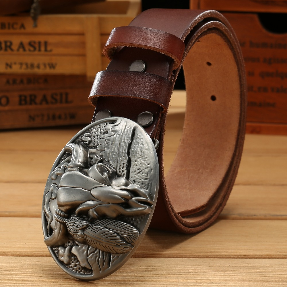 Big Buckle Real Leather Belts For Men Mens Belts Luxury 100% Genuine Leather Camel Brown Punk Cowhide Chinese Style High Quality