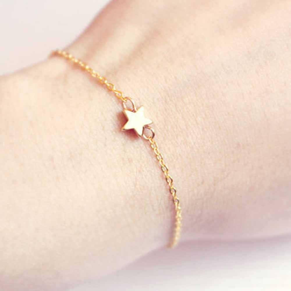 2018 gorąca sprzedaż moda proste gwiazda charm bransoletka dla kobiet złoty srebrny kolor metalowe bransoletki oświadczenie biżuteria Femme Party prezenty