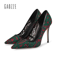 GAOZZE Fashion Green Red Lace Mesh Sexy High Heels 10.5cm Women Pumps Shoes Pointed Toe Social Party Women Shoes 2018 Spring New