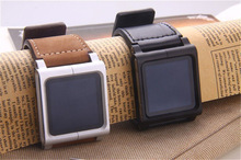 Leather Aluminum Watch Band Wrist Strap for iPod Nano 6th Black & Brown