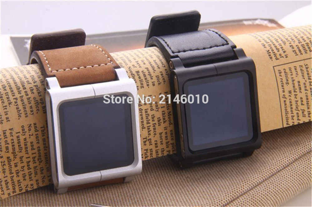 Kulit Aluminium Watch Band Wrist Strap untuk IPod Nano 6th Hitam & Coklat