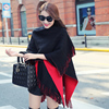 VOHIO New Woman S Winter Scarf Blanket Scarf Muffler Double Cape Cross Coat Of Knitted Furs