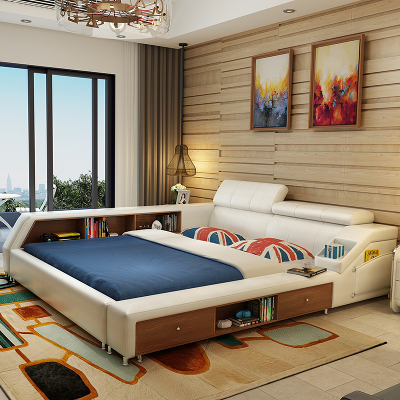 Modern Leather King Size Storage Bed Frame With Two Side Cabinets White Color No Mattress Bedroom Furniture Sets