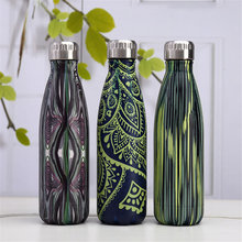 Creative Thermos Water Bottle Wood Grain Camouflage Pattern Leak-proof Thermo 500ml Coffee Milk Cup  Lovers Gift
