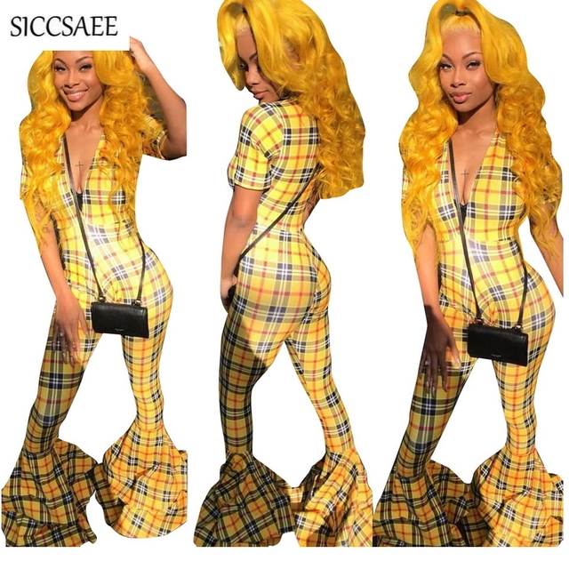 dbe41a7945a5 Plaid Print Rompers Womens Jumpsuit Bell Bottom Pants Ruffles Checkered  Overalls Deep V Neck Macacao Feminino Curto Sexy Club