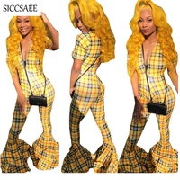 Plaid Print Rompers Womens Jumpsuit Bell Bottom Pants Ruffles Checkered Overalls Deep V Neck Macacao Feminino Curto Sexy Club