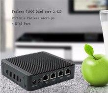 Oem типов celeron J1900 4 LAN четырехъядерных процессоров безвентиляторный win 7 компьютер в китае DHL бесплатная доставка