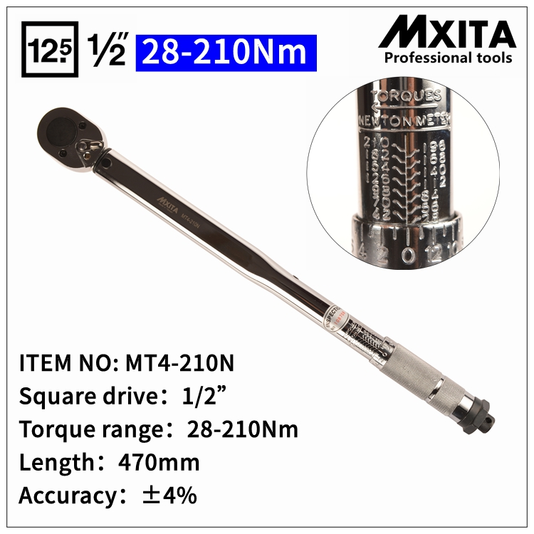 MXITA 1/2 28-210N Professional Torque Wrench Bike car Repair Tool Torque Spanner Tool hand tool set mxita 3 8 5 60n professional adjustable torque wrench bike repair tool torque spanner tool hand tool set