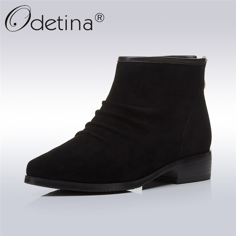купить Odetina 2017 New Fashion Womens Cow Suede Pleated Genuine Leather Ankle Boots Pointed Toe Chunky Low Heel Booties Back Zipper дешево