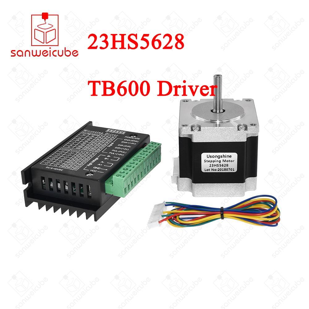 1set 23HS5628 Nema 23 Stepper Motor 57 Motor 2.8A with TB6600 Stepper Motor Driver NEMA17 / 23 motors for CNC and 3D printer nema 23 stepper motor 57mm 3a drive tb6600 motor for laser cnc router 3d printer