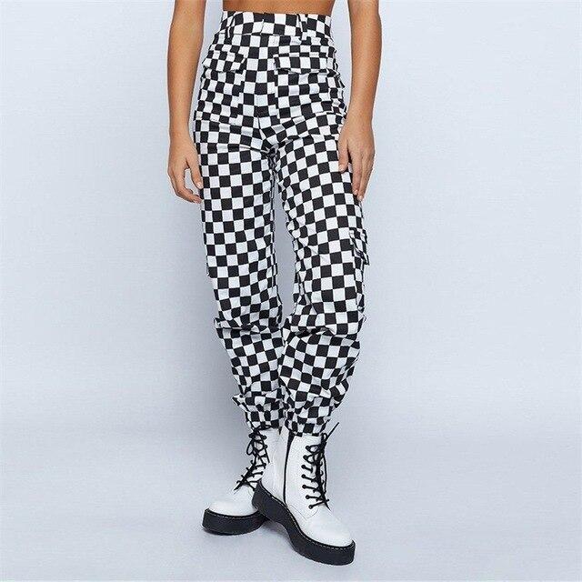 138307c299889d Streetwear Black White Plaid Punk Joggers Sweatpants High Waist Cargo Pants  Women Casual Harem Trousers Female Capris Pantalon