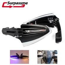 รถจักรยานยนต์ Handguards Motocross คาร์บอน 22mm 7/8 LED TURN สัญญาณป้องกัน FALLING PIT จักรยาน ENDURO ป้องกันมือสำหรับ Suzuki