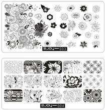 ZJOY(3,4) Rose Flowers Precious Nail Stamping Plates Rectangle Template Manicure Art Image Plate Stencils Stamps Tool 3D