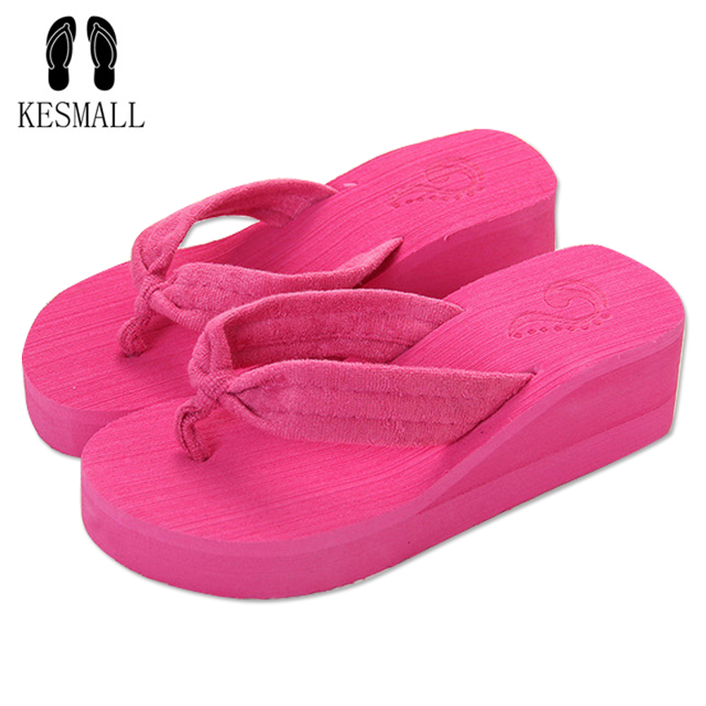 KESMALL Style Sweet fashion flip flops slope with Student colorful Non-slip resort beach sandal and slippers WS96 mayflower beach resort 3 гоа