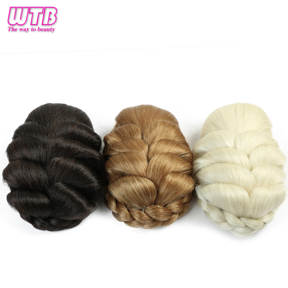 Wtb Black Blonde Chignons For Women Synthetic Hair Clips In Hair