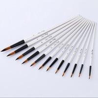 12Pcs Mixed Size Flat Head Acrylic Painting Brushes White Nylon Watercolor Brush Set Student Children Painter Art Supplies|Paint Brushes|   -