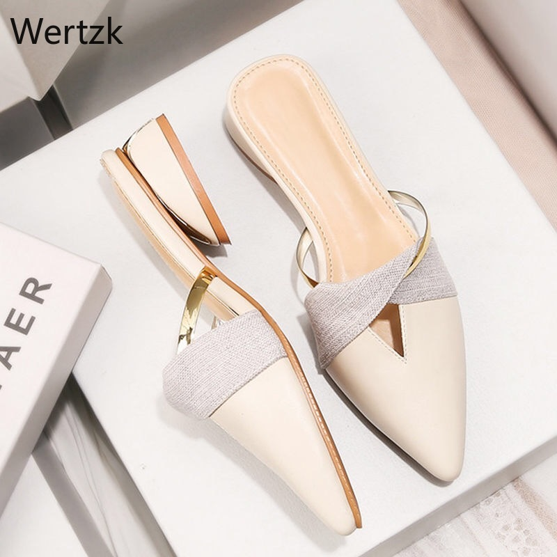 2019 New Summer Flats Lady Sandals Slippers Soild Color Slip On Pointed Toe Women Mules Outdoor Slipper Shoes Woman Slides A194