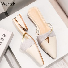 2019 New Summer Flats Lady Sandals Slippers Soild Color Slip on Pointed Toe Women