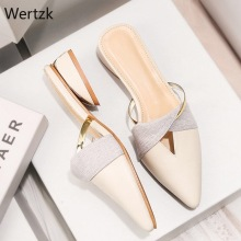 2019 New Summer Flats Lady Sandals Slippers Soild Color Slip on Pointed Toe Wome