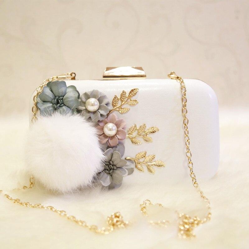 La sra. victoria perla flores de novia bolsa de embrague bolso de la mujer de ba