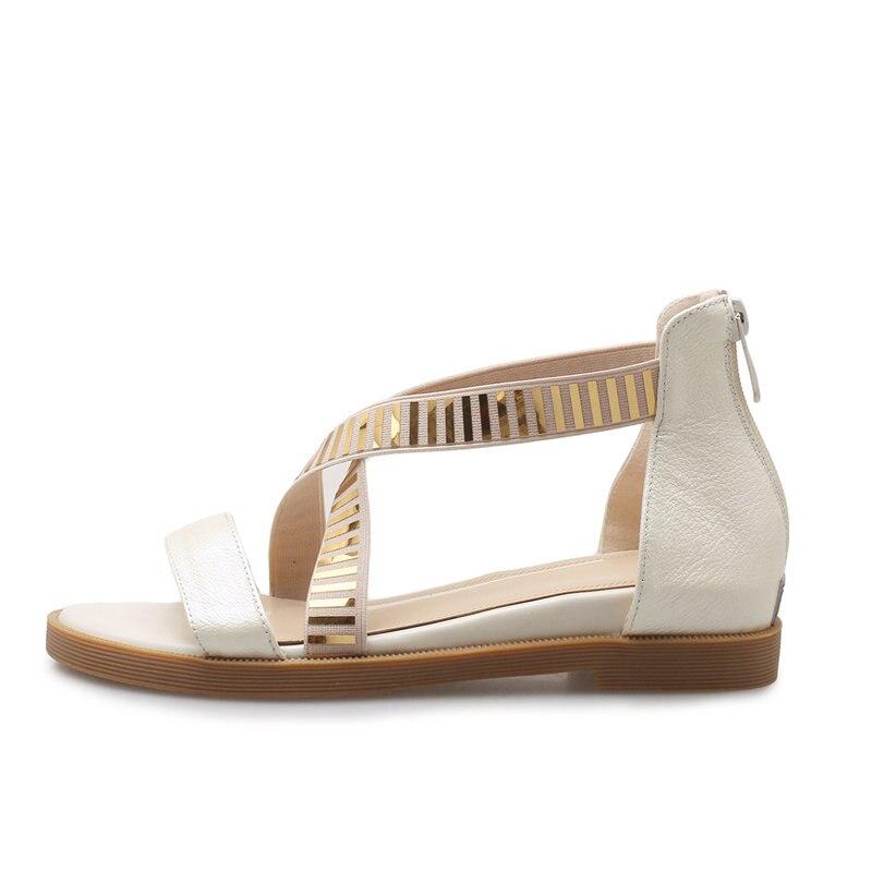 Femme Cuir Femmes forme Chaussures Beige Véritable Sandales 2018 En Concis Karinluna Talons Bas D'été Décoration Croix Sangle or Plate Métal noir EHeW29bIDY