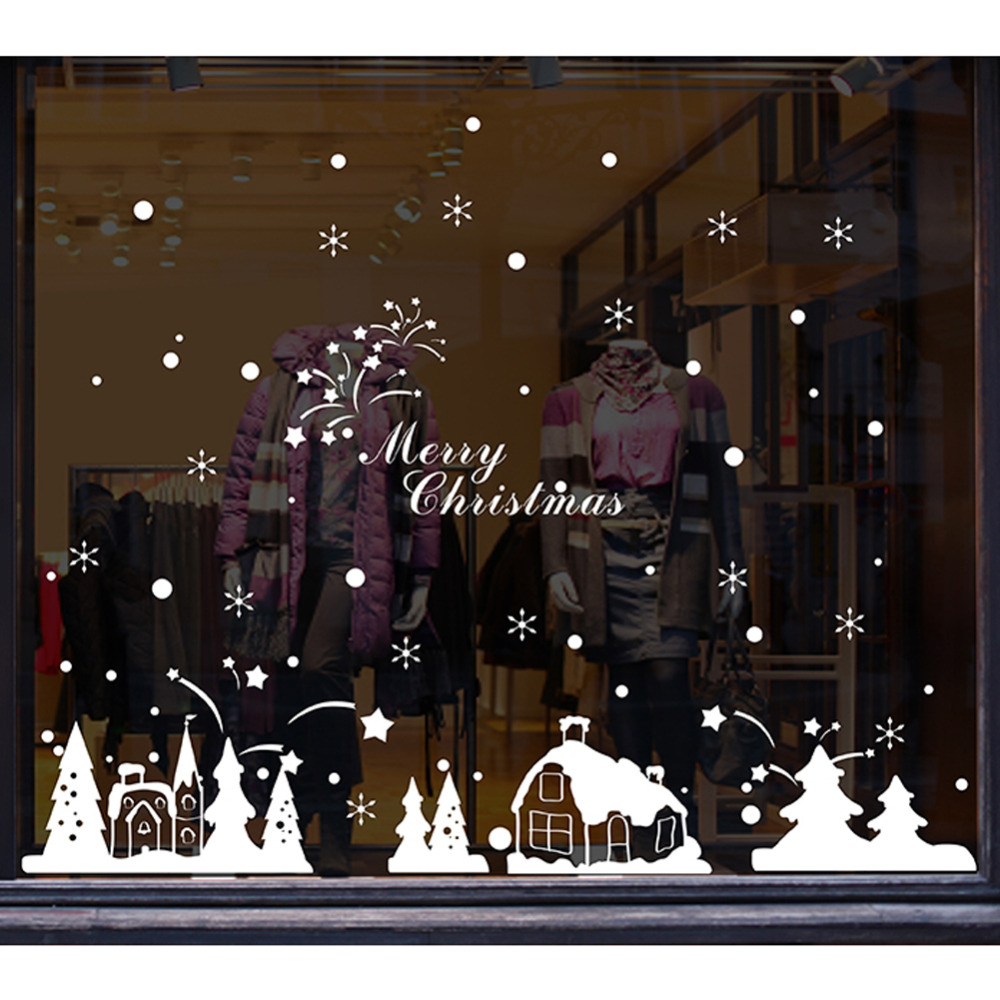 White Snowflakes Christmas Window Glass Stickers Christmas Tree Pendant Gifts PVC Xmas Wall Decals for Shop Home Decoration