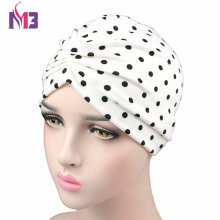 New Women Fashion Silky Stretchy Turban Dot Print Hat Bonnet Headwear Headband Hijab Hair Accessories